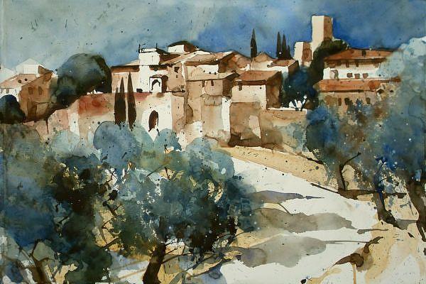 Toskana for Architektur aquarell